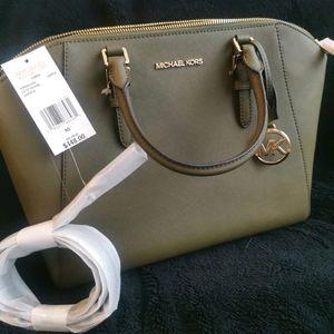 MICHAEL KORS green satchel with sling bag